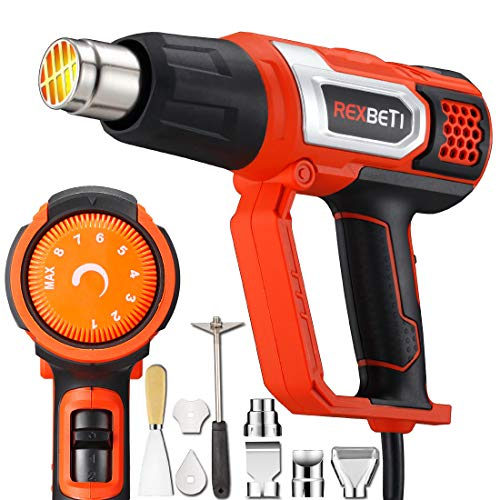 Power Gun Case - REXBETI 1800W Variable Temperature Heat Gun, 140℉-1210℉(60℃-654℃) High Power Hot Air Gun, Hard Case with 9 Attachments, Fast Heating In Seconds, Perfect for Crafts, Shrinking PVC/Wrap, Stripping Paint