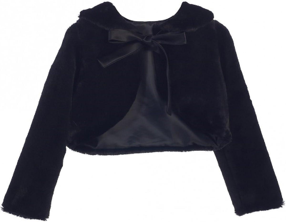 Dreamer P Girls Faux Fur Ribbon Long Sleeve Flower Girl Bolero Jacket Cover Cape S-XL 2-16