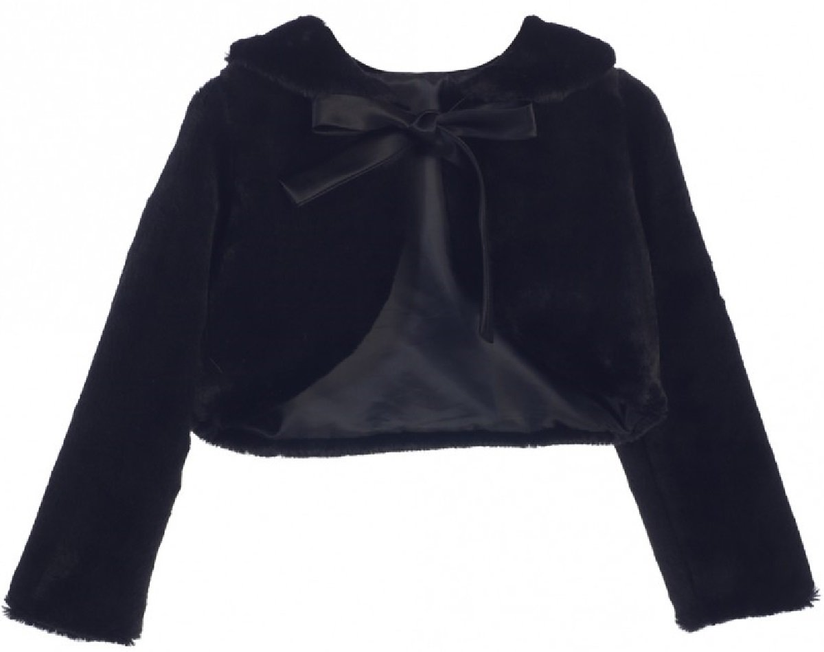 Big Girls' Faux Fur Ribbon Long Sleeve Tie Flower Girl Bolero Jacket Cover Cape Black 10 (SC3K5)