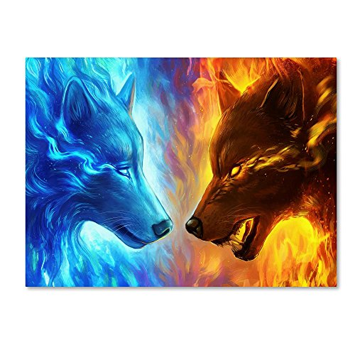 Fire and Ice by JoJoesArt, 18x24-Inch Canvas Wall Art