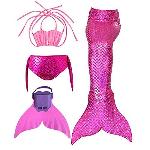 Filles Maillot de Bain Queues de sirène avec Monopalme Déguisement de Sirène 4pcs Bikini Ensembles
