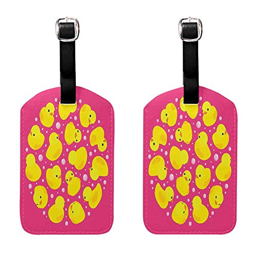 (Luggage ID Tags - 2-pack Rubber Duck,Fun Baby Duckies Circle Artsy Pattern Kids Bath Toys Bubbles Animal Print,Pink and Yellow Suitcase ID Tag)