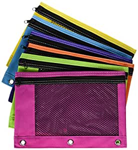 Zippered Mesh Pencil Pouch for 3 Ring School Binders Bright Assorted Neon Colors to Choose From - Lime Green, Purple, Light Blue, Orange, Pink (1-Pack)