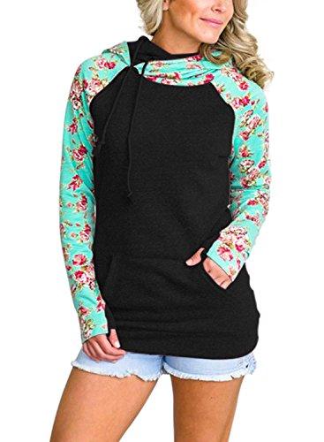 S/s Hoody Sweatshirts (HOTAPEI Hooded Sweatshirt Floral Printed Long Sleeve Pockets Colorblock Fleece Pullover Hoodies for Women Black Large)