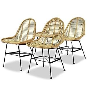 Amazon.com: Festnight Juego de 4 sillas de comedor de ratán ...