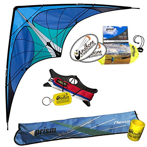 Prism Nexus Dual Line Delta Framed Stunt Kite with 20' Tube Tail Bundle (3 Items) + Prism 20ft Ripstop Tube Tail + WindBone Kiteboarding Lifestyle Stickers + Key Fob (Blue)