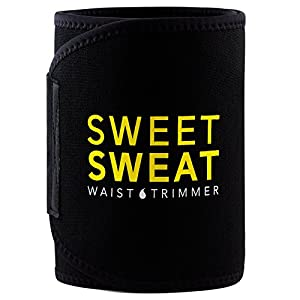 Sweet Sweat Premium Waist Trimmer, for Men & Women. Includes Free Sample of Sweet Sweat Gel! (X-Large),Black & Yellow