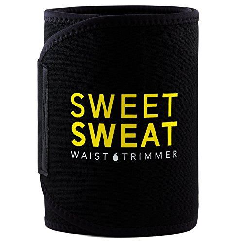 Sweet Sweat Premium Waist Trimmer, for Men & Women. Includes Free Sample of Sweet Sweat Gel! (X-Large),Black & Yellow (Best Thing To Lose Belly Fat)
