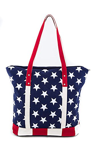 American Flag Stars & Stripes Canvas Design Carry All Tote Bag