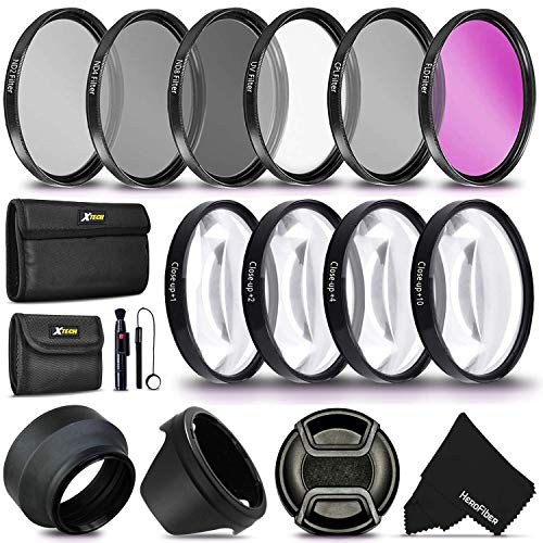 55MM Professional Lens Filter Accessory Kit (UV FLD CPL) ND Filters Set (ND2 ND4 ND8) 4 Close-up Macro Filters (+1 +2 +4 +10) for Nikon D3400 D5600 D7500 Camera with Nikon AF-P DX 18-55mm Lens