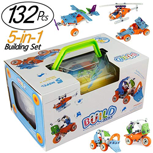 JIETENGFEI Building Toys Stacking Blocks Cars Airplane DIY Kits to Build 5-in-1 STEM Toys Creative Stacking 132Pcs Education Construction Engineering Gifts for Kids Boys and Girls (Best Revell Gifts For Twelve Year Old Girls)
