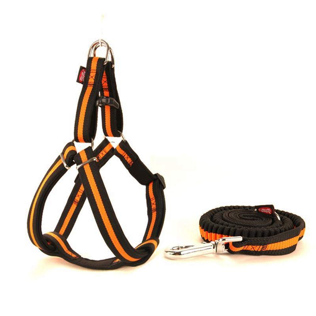 orange XL orange XL Jim Hugh Dog Harness Leash Elastic Nylon Adjustabl Diving Fabric Lining Soft Durable Large Medium for Dog Harness Leash