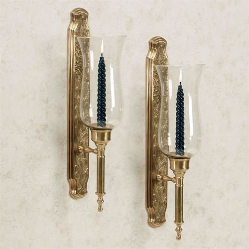(Flythe Consulting Marcario Hurricane Wall Sconces Satin Brass Pair)