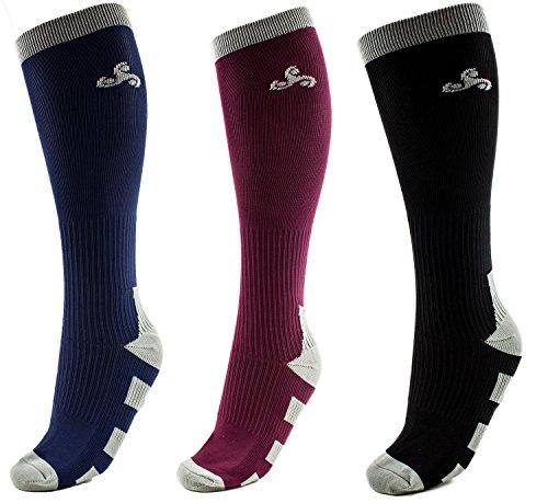 3Plus Socks 3 Pairs Men & Women Compression Performance Socks for Athletic, Sports, Running, Nurses, Shin Splints, Flight Travel, Pregnancy, Circulation, and Recovery