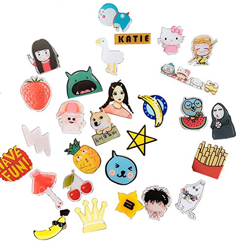 10PCS Acrylic Cartoon Mixed Pattern Brooch Pin Set Clothes Badge Hat Bag Scarf Corsage Badge Accessories