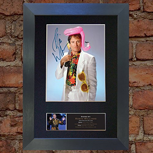 #505 Robin Williams Signed Autograph Photo Reproduction Print A4 Rare Perfect Birthday (297 x 210mm) (Black Frame)