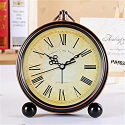 FirstDecor 5 inch European style Roman Numerals Vintage Alarm Clock Desktop Clock Silent No-ticking Classic Retro Wall clock Home Decoration Housewarming gift
