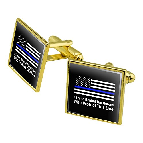 I Stand Behind the Heroes Who Protect This Line Thin Blue American Flag Square Cufflink Set Gold Color