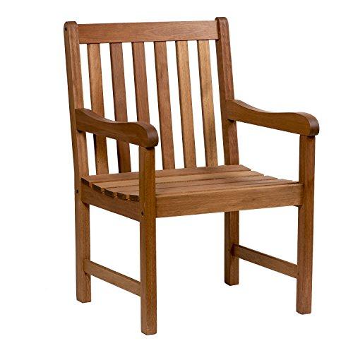 Amazonia Milano 1-Piece Patio Armchair | Eucalyptus Wood | Ideal for Outdoors...