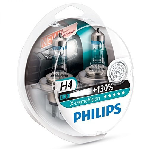 Philips X-treme Vision +130% Headlight Bulbs (Pack of 2) (H4 60/55W) (Xenon H4)