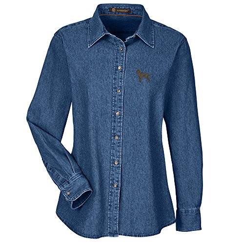 Labrador Chocolate Embroidered Ladies 100% Cotton Denim Shirt - Labrador Denim Shirt