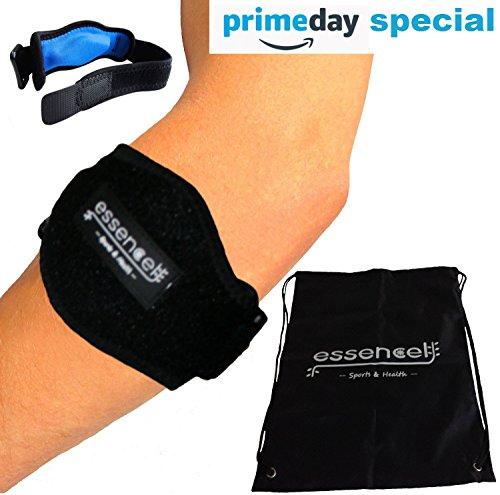 Tennis Elbow Brace for Tendonitis Treatment, Golfers Elbow Strap with Compression Pad, Arm Brace Pain Relief Support for Man and Woman + Drawstring Carrying Bag