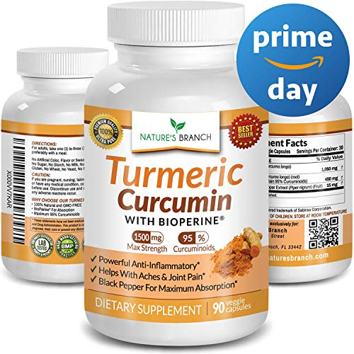 ★ Extra Strength Turmeric Curcumin with BioPerine Black Pepper 1500mg 100% Natural Joint Pain Relief Supplement for Inflammation 90 Tumeric Extract Pills Best Immune Boost Root Powder Capsules