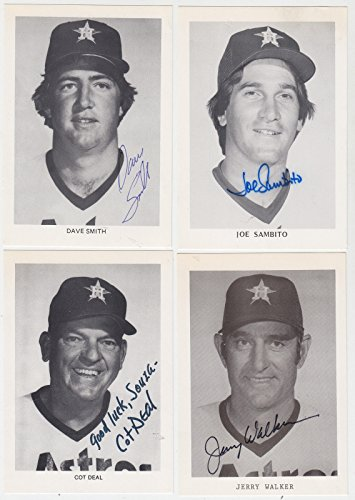 1980 HOUSTON ASTROS SIGNED TEAM ISSUE CARD PHOTO JOE SAMBITO METS RED (1980 Topps Card Photo)