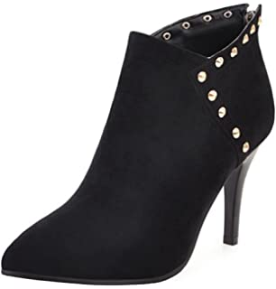 Women's Studded Sexy Faux Suede Pointed Toe Zip Up Booties Dressy Stiletto High Heels Ankle Boots With Studs
