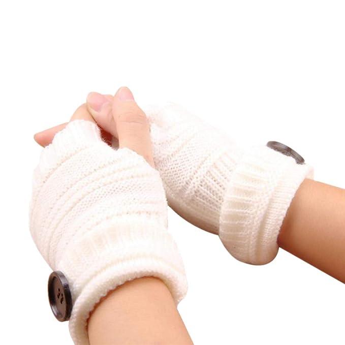 Halbfinger-Handschuhe und Fäustlinge Strickhandschuhe Wolle rot-weiß