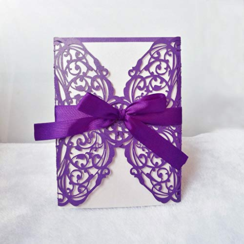 JEWH 10Pcs/1Lot Wedding Invitation Card Laser Cut Lace Openwork Invitation Cards White Elegant Pattern Holiday Party Decoration (Purple)