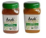 Aadi Organics USDA Certified Organic Bundle: Indian Turmeric and Chili Powder - 6oz / 170g Each - Cooking Spices - Non-GMO, No MSG or Salt