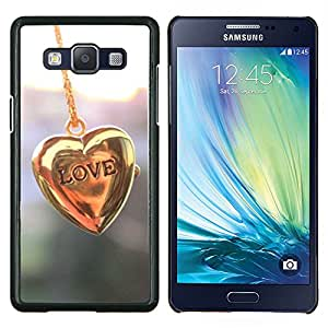 Stuss Case / Funda Carcasa protectora - Cadena Corazón de Oro Pastel Brillante - Samsung Galaxy A5 ( A5000 ) 2014 Version