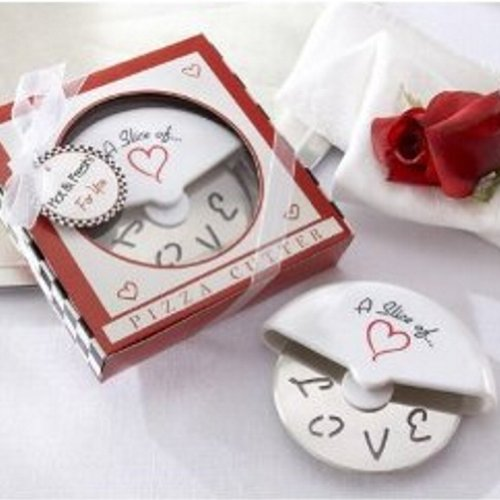 Italian Wedding Favor Boxes (A Slice of Love Stainless-Steel Pizza Cutter in Miniature Pizza Box (pack of 40))