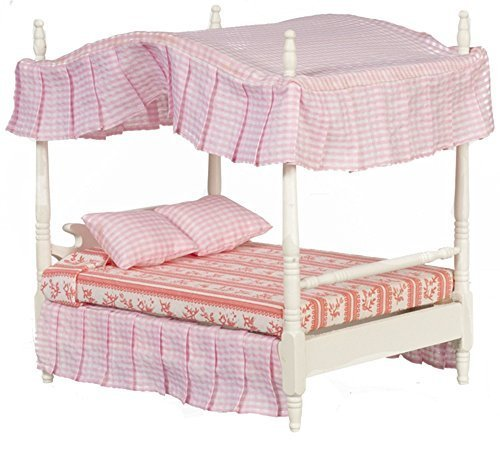 Melody Jane Dollhouse White Double 4 Poster Canopy Bed Miniature 1:12 Bedroom Furniture