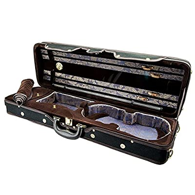 Paititi 4/4 Full Size Professional Halfmoon Shape Lighweight Violin Hard Case with Hygrometer