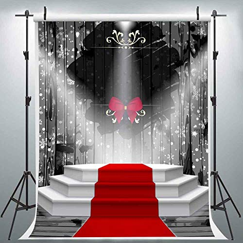 LUCKSTY 6x9FT Red Carpet Stage Photography Backdrop Black Curtain Bowknot Spotlights Background Portraits Family Party 2019 Stylish Photo Backdrop LULF052