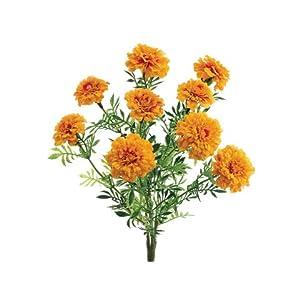 13″ Marigold Bush x9 w/9 Flw. 30 Lvs. Yellow Orange (Pack of 6)