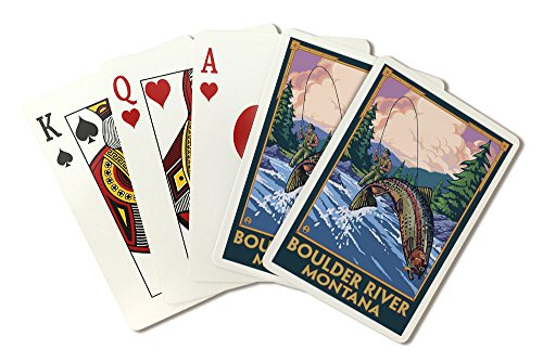 Boulder River, Montana - Fly Fishing Scene (Playing Card Deck - 52 Card Poker Size with Jokers)