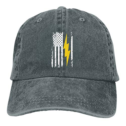 NELife American Flag Lightning Bolt Electrician Unisex Retro Baseball Caps Hats Rock Hip Hop Classic Casquette with Adjustable Strap Dad Trucker Hat ()