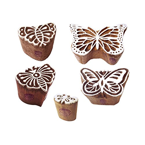 Trendy Motif Assorted and Butterfly Block Print Wood Stamps (Set of - Print Butterfly Block