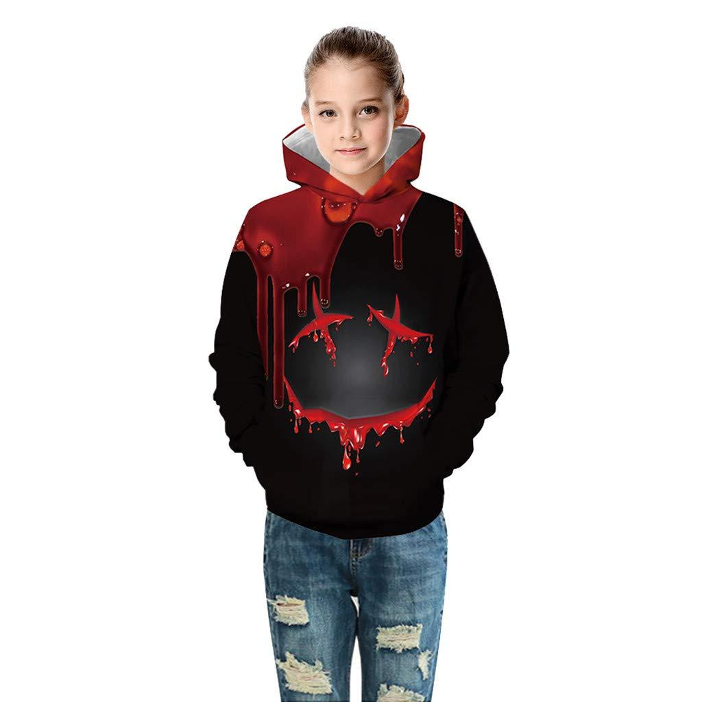 Ansenesna Halloween Hoodie Kinder Junge M/ädchen Gruselig Blut 3D Drucken Unisex Langarm Pullover