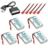 HOBBYTIGER 3.7V 1200mAh Lipo Battery 25C ( 5PCS ) + 5 in 1 Batteries Charger for SYMA X5HW X5HC RC Quadcopter