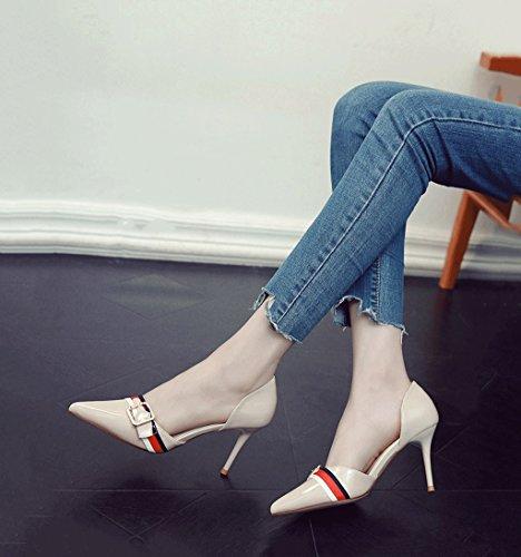 Munnen Pekte Kvinnelige toe Vintage Størrelse Sko Hæl farge 35 Sandaler Sommer Stiletto Grunne Drømme Sexy Beige Hul Hæler PvfBAqAw