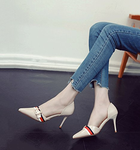 Hæl Grunne toe Sko Stiletto Sommer Hul farge Kvinnelige Størrelse Pekte Vintage Drømme Sexy Munnen Beige 35 Sandaler Hæler yWgfcqz