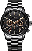 Men's Watches Stainless Steel Bracelet Date Casual Wrist Watch Analog Quartz Display with Black Dial