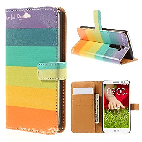 LG G2 Wallet Case, Easytop Fashion Design Premium PU Leather Wallet Fleible Stand Flip Protective Cover Case, with Built-in Credit Card, ID Card Slots, Cash Pocket and Magnetic Closure (Have a Nice Day Colorful (Lg G2 Phone Case Magnetic)
