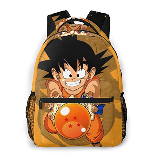 Lightweight Polyester Rucksack Kid Goku Anime Dragon Ball Super Travel Hiking Daypack - Big Capacity Multipurpose Anti-Theft Carry-On Bag for Men & Women