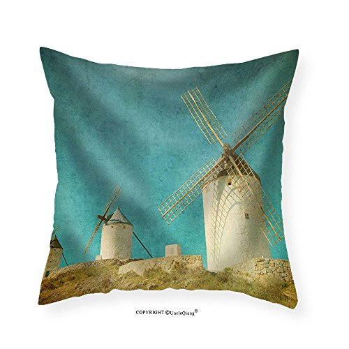 VROSELV Custom Cotton Linen Pillowcase Vintage Image of Windmills in Consuegra Spain - Fabric Home Decor 24''x24'' by VROSELV