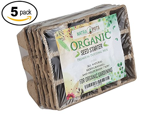 Seed Starter Tray | 100% Natural and Biodegradable Planting Pots for Organic Plant Growth | 5 12-Cell Seedling Started Trays (60 Total Peat Pots) with 12 Reusable Plastic Markers (Seed Pack Tomato)